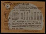 1981 Topps #16  Johnny Davis  Back Thumbnail