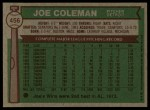 1976 Topps #456  Joe Coleman  Back Thumbnail