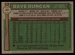 1976 Topps #49  Dave Duncan  Back Thumbnail
