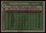 1976 Topps #97  Wilbur Howard  Back Thumbnail