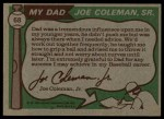 1976 Topps #68  Joe Coleman / Joe Coleman Jr.  Back Thumbnail