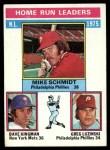 1976 Topps #193   -  Mike Schmidt / Dave Kingman / Greg Luzinski NL HR Leaders   Front Thumbnail