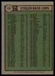 1976 Topps #197   -  Dave Lopes / Joe Morgan / Lou Brock NL SB Leaders   Back Thumbnail