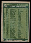 1977 Topps #597   -  Darrell Johnson / Don Bryant / Vada Pinson / Jim Busby / Wes Stock Mariners Leaders Back Thumbnail