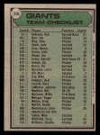 1979 Topps #356   -  Joe Altobelli Giants Team Checklist Back Thumbnail