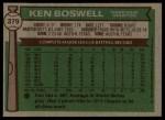 1976 Topps #379  Ken Boswell  Back Thumbnail