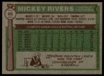 1976 Topps #85  Mickey Rivers  Back Thumbnail