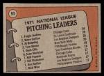 1972 Topps #93   -  Steve Carlton / Fergie Jenkins / Tom Seaver / Al Downing NL Pitching Leaders   Back Thumbnail