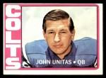 1972 Topps #165  Johnny Unitas  Front Thumbnail