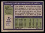 1972 Topps #169  Daryle Lamonica  Back Thumbnail