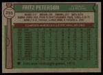 1976 Topps #255  Fritz Peterson  Back Thumbnail