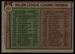 1976 Topps #205   -  Al Hrabosky / Goose Gossage Leading Firemen Back Thumbnail
