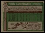 1976 Topps #622  Rick Auerbach  Back Thumbnail