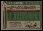 1976 Topps #82  Von Joshua  Back Thumbnail