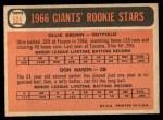 1966 Topps #524   -  Ollie Brown / Don Mason Giants Rookies Back Thumbnail
