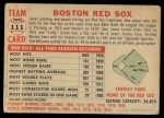 1956 Topps #111   Red Sox Team Back Thumbnail