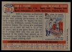 1957 Topps #383  Juan Pizarro  Back Thumbnail
