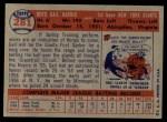 1957 Topps #281  Gail Harris  Back Thumbnail