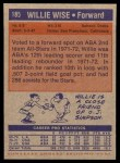1972 Topps #185  Willie Wise   Back Thumbnail