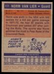 1972 Topps #111  Norm Van Lier   Back Thumbnail