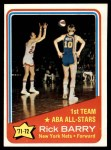 1972 Topps #250   -  Rick Barry  ABA All-Star - 1st Team Front Thumbnail
