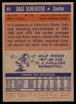 1972 Topps #69  Dale Schlueter   Back Thumbnail