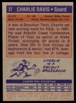 1972 Topps #27  Charles Davis   Back Thumbnail