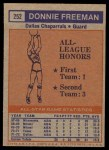 1972 Topps #252   -  Donnie Freeman  ABA All-Star - 1st Team Back Thumbnail