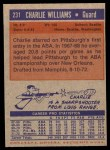 1972 Topps #231  Charlie Williams   Back Thumbnail