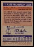 1972 Topps #115  Nate Archibald   Back Thumbnail
