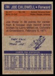 1972 Topps #206  Joe Caldwell   Back Thumbnail