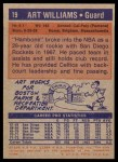 1972 Topps #19  Art Williams   Back Thumbnail