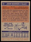 1972 Topps #64  John Warren   Back Thumbnail