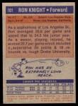 1972 Topps #101  Ron Knight   Back Thumbnail