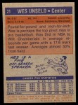 1972 Topps #21  Wes Unseld   Back Thumbnail