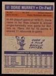 1972 Topps #61  Dorrie Murrey   Back Thumbnail