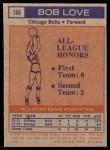 1972 Topps #166   -  Bob Love NBA All-Star - 2nd Team Back Thumbnail