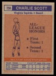 1972 Topps #258   -  Charlie Scott  ABA All-Star - 2nd Team Back Thumbnail