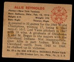 1950 Bowman #138  Allie Reynolds  Back Thumbnail