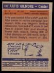 1972 Topps #180  Artis Gilmore   Back Thumbnail
