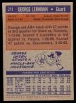 1972 Topps #211  George Lehmann   Back Thumbnail