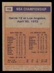 1972 Topps #155   NBA Playoffs - Game #2 Back Thumbnail