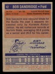 1972 Topps #42  Bob Dandridge  Back Thumbnail