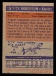 1972 Topps #126  Rick Roberson   Back Thumbnail