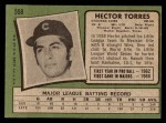 1971 Topps #558  Hector Torres  Back Thumbnail