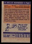 1972 Topps #94  Willie Norwood   Back Thumbnail