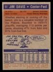 1972 Topps #51  Jim Davis   Back Thumbnail