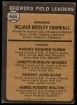 1973 Topps #646   -  Del Crandall / Harvey Kuenn / Joe Nossek / Bob Shaw / Jim Walton Brewers Leaders Back Thumbnail