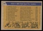 1971 Topps #140   -  Johnny Green / Wilt Chamberlain / Lew Alcindor NBA Field Goal % Leaders Back Thumbnail