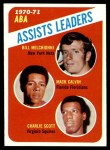1971 Topps #151   -  Bill Melchionni / Charlie Scott / Mack Calvin ABA Assists Leaders Front Thumbnail
